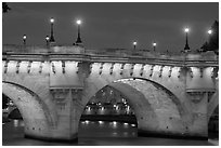 Pont-Neuf and lights by night. Paris, France ( black and white)