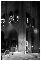 Cardinal reading and crossing of Notre-Dame cathedral. Paris, France ( black and white)