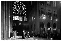 Catholic Mass celebration. Paris, France ( black and white)
