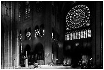 Crossing and south transept during mass. Paris, France ( black and white)