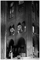 Cardinal reading and choir of Notre-Dame cathedral. Paris, France ( black and white)