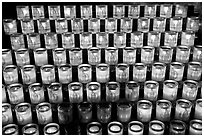 Array of candles, Notre-Dame cathedral. Paris, France ( black and white)