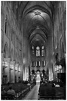 Nave during mass, Notre-Dame. Paris, France ( black and white)