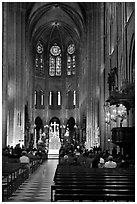 View of Choir during Mass, Notre-Dame. Paris, France ( black and white)