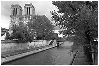 Seine and Notre-Dame facade in the spring. Paris, France ( black and white)