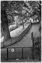 Park with couple in the distance, Montmartre. Paris, France (black and white)