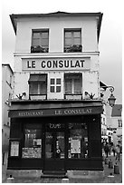 Le Consulat Restaurant, Montmartre. Paris, France ( black and white)