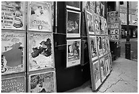 Reproduction of period posters for sale, Montmartre. Paris, France (black and white)