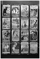 Reproduction of vintage advertising posters, Montmartre. Paris, France (black and white)
