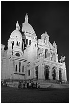 Basilica of the Sacre-Coeur (Basilica of the Sacred Heart) at night, Montmartre. Paris, France ( black and white)