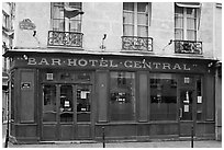 Old Bar hotel and rainbow flag. Paris, France (black and white)