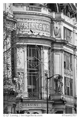 Facade detail of Printemps department store. Paris, France (black and white)