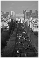 Champs-Elysees, Arc de Triomphe, and La Defense, from Ferris Wheel. Paris, France (black and white)