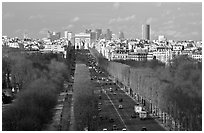Champs-Elysees, Arc de Triomphe, in winter. Paris, France ( black and white)