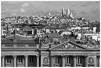 Classical building, Rooftops and Butte Montmartre. Paris, France ( black and white)