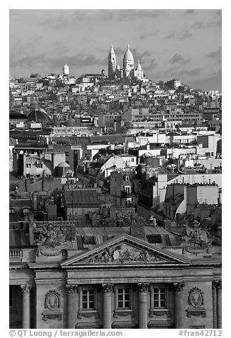 Rooftops and Montmartre Hill. Paris, France (black and white)