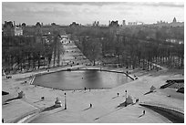 Jardin des Tuileries and Louvre in winter. Paris, France (black and white)