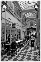 Eatery in covered passage. Paris, France (black and white)