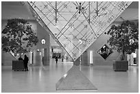 Inverted pyramid and shopping mall under the Louvre. Paris, France (black and white)