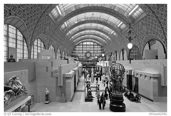 Orsay Museum, housed in the former railway station, Gare d'Orsay. Paris, France (black and white)