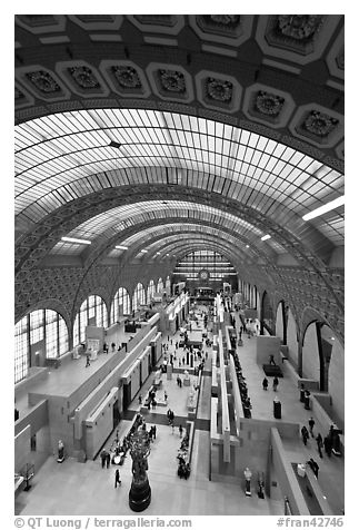 Vaulted ceiling and main room of the Musee d'Orsay. Paris, France (black and white)