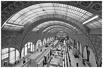 Vaulted ceiling main exhibitspace of Orsay Museum. Paris, France ( black and white)