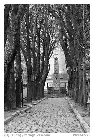Trees and memorial, Pere Lachaise cemetery. Paris, France (black and white)