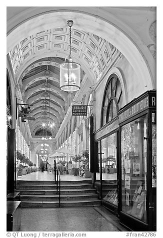 Gallery at night, passage Vivienne. Paris, France (black and white)