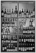 Wine bottles in storefront, passage Vivienne. Paris, France (black and white)