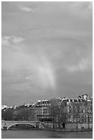 Rainbow above Ile St Louis. Paris, France (black and white)