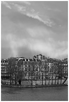 Riverfront houses on Ile Saint Louis with rainbow. Paris, France ( black and white)