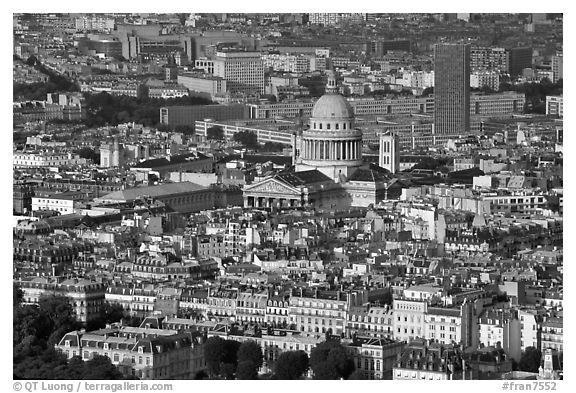 The Quartier Latin seen from the Montparnasse Tower, late afternoon. Quartier Latin, Paris, France (black and white)