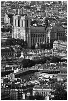 Notre Dame seen from the Montparnasse Tower, late afternoon. Paris, France (black and white)