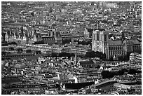 Hotel de Ville (City Hall) and Notre Dame seen from the Montparnasse Tower, sunset. Paris, France ( black and white)