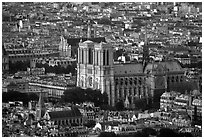 Notre Dame seen from the Montparnasse Tower, sunset. Paris, France ( black and white)