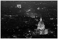 Aerial view of Arc de Triomphe and Invalides by night. Paris, France ( black and white)