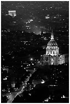 Arc de Triomphe and Invalides seen from the Montparnasse Tower by night. Paris, France (black and white)