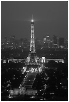 Tour Eiffel (Eiffel Tower) and Palais de Chaillot (Palace of Chaillot)  seen from the Montparnasse Tower by night. Paris, France (black and white)
