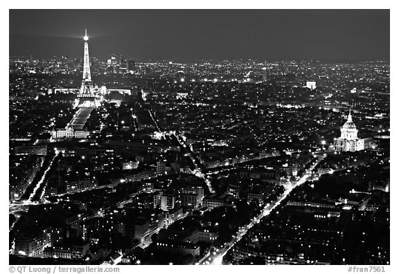 Tour Eiffel (Eiffel Tower) and Invalides by night. Paris, France (black