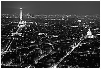 Tour Eiffel (Eiffel Tower) and Invalides by night. Paris, France (black and white)