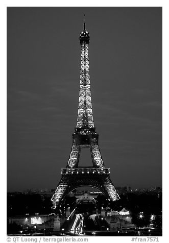 Black and White Eiffel Tower at Night
