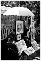 Painters on Place du Tertre,  Montmartre. Paris, France ( black and white)