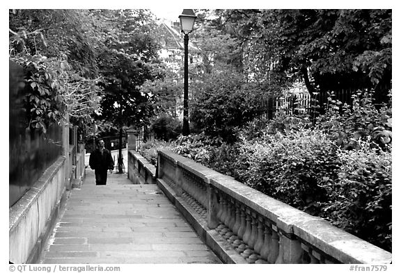 Alley borded by gardens, Montmartre. Paris, France (black and white)