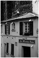 La Maison Rose, Montmartre. Paris, France (black and white)