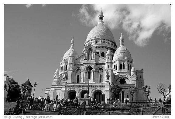 Basilique du Sacre Coeur, seen from the Butte, Montmartre. Paris, France (black and white)