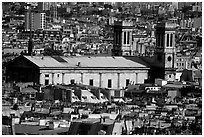 Saint Vincent de Paul  church and rooftops seen from Montmartre. Paris, France (black and white)
