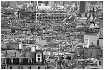 Rooftops and Centre Beaubourg seen from Montmartre. Paris, France (black and white)