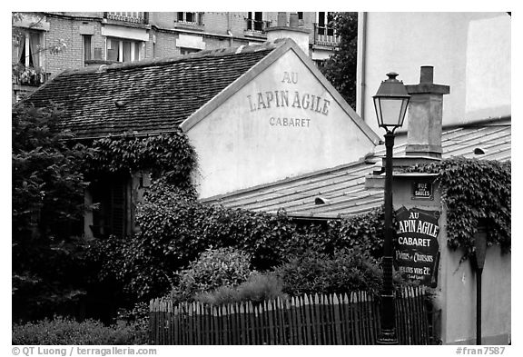 Au Lapin Agile, a famous historic cabaret, Montmartre. Paris, France (black and white)
