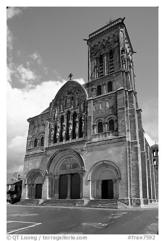 Facade of the Romanesque church of Vezelay. Burgundy, France (black and white)