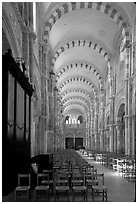 Nave of the Romanesque church of Vezelay. Burgundy, France (black and white)